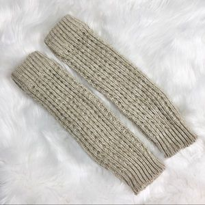 Oatmeal heather cozy knit leg warmers one pair OS